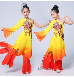 Girls children chinese folk dance costumes fairy cosplay dress yangko dam umbrella dance costumes